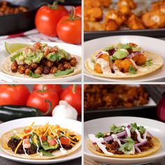 Meatless Tacos 4 Ways // #tacos #vegetarian #healthy #tasty