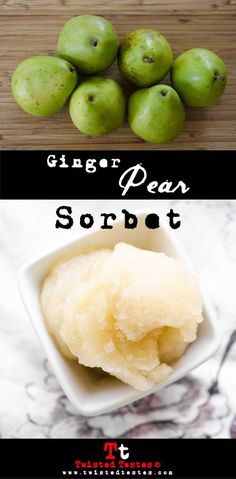 Ginger Pear Sorbet Recipe- An easy, four-ingredient iced treat of ginger spice…