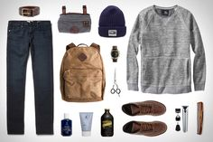 Isaora Space-dyed Crewneck Sweatshirt ($130). J.Crew Abingdon Backpack ($118). Frame Denim L'Homme Cotswolds Jeans ($210). Red Wing Heritage Boot ($270). Wahl Lithium Ion Stainless Steel Groomer ($51). Babyliss Pro Forfex Classic Scissors ($48). Stumptown Coffee Cold Brew ($3). Blind Barber...