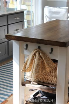 DIY Kitchen Island {from new unfinished furniture to antique!} - The Inspired Room - DIY Kitchen Island {from new unfinished furniture to antique!} – The Inspired Room - Diy Kitchen Island, Kitchen Redo, New Kitchen, 1970s Kitchen, Kitchen Cart, Kitchen Ideas, Kitchen Dresser, Long Kitchen, Cheap Kitchen
