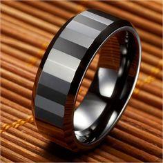 High Polish Ceramic Mens Ring Black Wedding Band 8mm   RnBJewellery