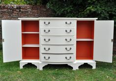 Sideboard with Farrow and Ball 'Charlotte's Locks' interior