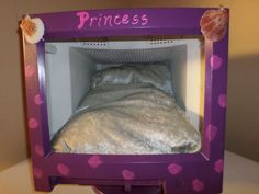UPCYCLED handpainted, computer monitor,purple, princess cat or dog bed w/bedding