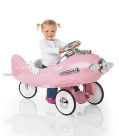Fantasy Flyer Plane: Heavy gauge steel, functional steering wheel, & non-slip rubber pedals that turn the propeller when pushed / Also available: road hog tricycle, bi-plane for boys, & hot rod classic pedal car.