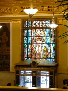 Huge stained glass window above street entrance to the Drury Plaza Hotel, San Antonio, TX
