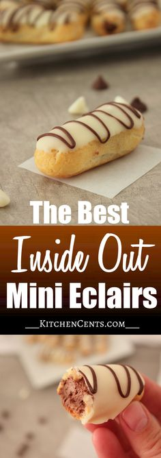 These Inside Out Mini Eclairs are filled with sweet, airy chocolate mousse and is topped with a delicious white chocolate ganache.