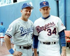 George Brett and Nolan Ryan both finished their careers on the same day in 1993 in the last game at Arlington Stadium. Rangers Baseball, Royals Baseball, Baseball Star, Sports Baseball, Texas Rangers, Baseball Players, Baseball Cards, Baseball Wall, Basketball
