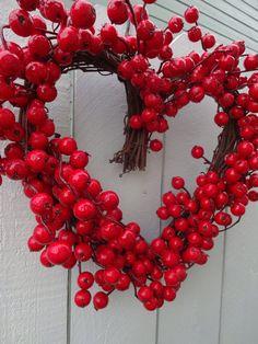Heart Wreath   Valentine Wreath  Valentine Gift   Valentine Heart Wreath  Red Berry Wreath  Wedding Wreath  Hand Crafted Wreath  Door Wreath by donnahubbard on Etsy