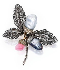 Silver-topped-Gold, Conch Pearl, Cultured Pearl and Diamond Brooch
