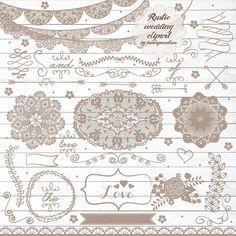 Rustic wedding clipart by burlapandlace on Creative Market