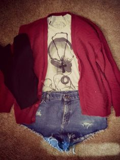 #highwaistedshorts #cardigan #sweater #tights #crossnecklace #hipster #indie #fashion #clothes