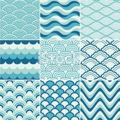 seamless retro wave pattern Artes e ilustrações vetoriais livres de royalties