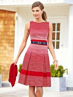 Talbots - Rope-Stripe Dress with anchor belt sold separately. Red Fashion, I Love Fashion, Modest Fashion, Fashion Dresses, Fashion Looks, Woman Dresses, Modest Clothing, Fashion Beauty, Classy Outfits