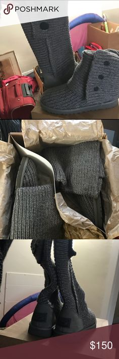 NEW❣️❣️Classic Cardy Grey UGG sweater boot Size 8 sweater boot only worn once. Never outside and still in original package 📦 Charcoal grey color can pair well with almost anything❣️❣️ UGG Shoes Winter & Rain Boots