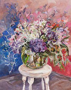© Laura Jones ~ Wildflowers and hydrangeas ~ 2015 Oil on linen at Olsen Irwin Gallery Sydney Australia
