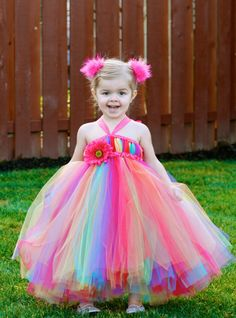 Rainbow Puffy Dress for Kids Pageant Gowns Masquerade Ball Gowns Little Flowers Girl Dresses Custom Made Orenda