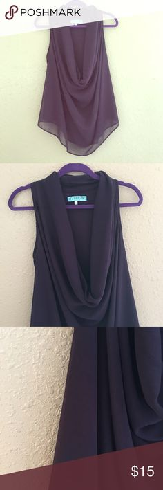 Plum Perfect Blouse Beautiful plum blouse with draping neckline. Very sexy, add a cami in the day to be work appropriate . Used twice, like new condition. Size small. Tops Blouses