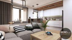 Salon otwarty na kuchnię w nowoczesnym, ciepłym klimacie - zdjęcie od MONOstudio - Salon - Styl Nowoczesny - MONOstudio