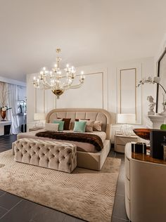 Bentley Home bedroom with winter colors in our Luxury Living Miami showroom