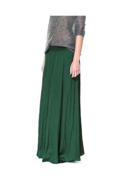 Falda larga fluida verde talla m /  Zara