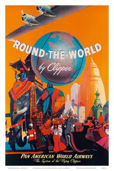 Pan American Airlines Posters   Pan American: Round the World by Clipper, c.1949 Stampa artistica