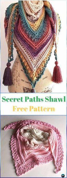 Crochet Secret Paths Shawl Free Pattern-Crochet Women Shawl Sweater Outwear Free Patterns Crochet Motifs, Knit Or Crochet, Crochet Scarves, Crochet Crafts, Crochet Clothes, Crotchet, Knitting Scarves, Sewing Clothes, Crochet Skull