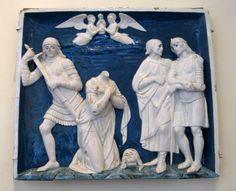 Chateau-Ecouen- La DECAPITATION (bas-relief). A gauche de la cheminée: 2 Bas-reliefs provenant d'une prédelle illustrant le martyre de ste Catherine: le SUPPLICE DE LA ROUE (E.CI.1557) et la DECAPITATION (E.CL 1558). Au centre, le bas-relief représente la VIERGE PRESENTANT L'ENFANT (E.CL.1053).