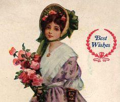 Pretty Antique Victorian Woman Best Wishes by VintagenutsInc, $7.50