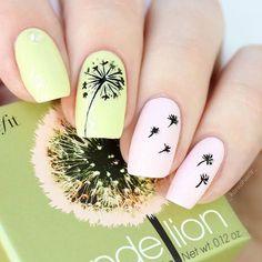 Light-Green-Black-Dandelion top 14 beautiful flowers nail design nail art g Flower Nail Designs, Flower Nail Art, Nail Designs Spring, Acrylic Nail Designs, Nail Art Designs, Nails Design, Nails With Flower Design, Design Art, Gel Nail Art