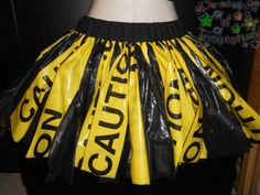 """Designs of Temptation : 11-12"""" Small Caution Tape Garbage Bag Tutu Skirt Party Rave Goth Scene Emo Dance"""