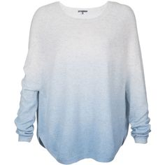 Vince Cashmere Ombre Sweater ($199) ❤ liked on Polyvore featuring tops, sweaters, shirts, long sleeves, sky blue, pattern shirts, print sweater, ombre shirt, blue sweater and raglan sweater