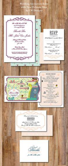 Custom Wedding Invitation Suite with Wedding Map by cwdesigns2010
