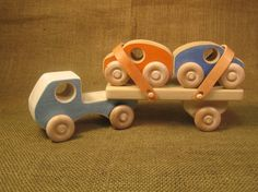 Wooden Toy Truck  Car Carrier by uswoodtoys on Etsy, $28.00