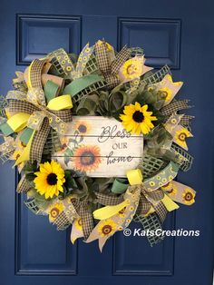 Tired of trying to figure out what to put on your door this Fall? Let me take the hassle out of finding just the right piece. This wonderful transitional wreath not only saves you money without having to find a wreath for Summer AND one for Fall, this one can be used for both seasons. Measuring 26-inches in diameter and a full 6-inches thick, this wreath is made with sage and tan jute burlap deco mesh to give it just the right look for both seasons. Surrounding an wood sign featuring a trio