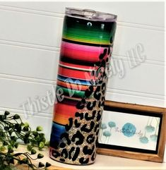 Serape and Leopard print Tumbler Diy Tumblers, Custom Tumblers, Glitter Cups, Gold Glitter, Cricut Craft Room, And So It Begins, Personalized Cups, Cup Holders, Silhouette Cameo Projects