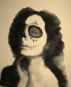 Skull Lady - made with pencil and water color