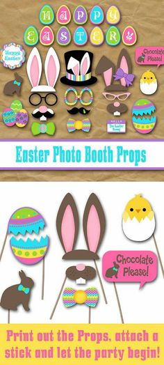 Have fun at your Easter Egg Hunt or Party with these Easter Photo Booth Props. They are sure to put smiles on everyone's face. Print, cut, attach a stick and you are ready to go! #easter #easterbunny #ad #eastereggs #photobooth #instantdownload