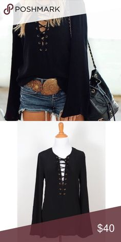 Black Lace Up Bell Sleeve Top Brand new. Rayon. By Cotton Candy LA. Nasty Gal Tops Blouses