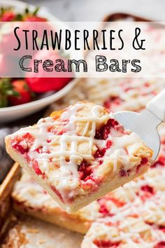 Strawberries and Cream Bars are made with a soft cookie like base, cream cheese fruit filling, and topped with a creamy glaze. Best fruit dessert bars ever! Cream Cheese Bars, Cream Cheese Desserts, Cheese Fruit, Bite Size Desserts, Cream Cheese Recipes, Cheese Dishes, Easy Dessert Bars, Easy No Bake Desserts, Fruit Dessert