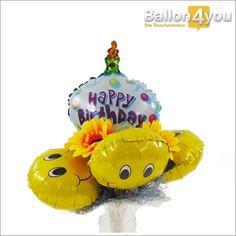 Ballonstrauß Happy Birthday     Überraschen Sie mit bunten Farben und guter Laune. Für Zweiteres sorgen die lustigen Smileyballons, welche einen Rahmen um den Happy Birthday Miniballon bilden. Farblich abgerundet, wird dieses Geschenkset durch zwei dekorative Sonnenblumen.