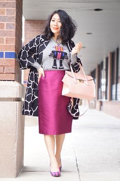 Petite 2016 spring casual outfit tips  blog Lord & Taylor black and white graphic coat +  Robot print sweater + purple  Lafayette 148 skirt  + check prints purple pumps + pink leather bag