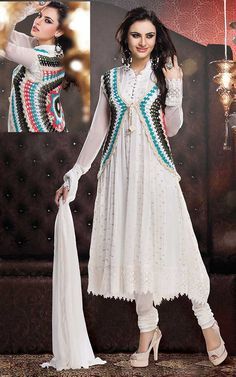 OFF WHITE GEORGETTE ANARKALI SALWAR KAMEEZ - CRO 5008