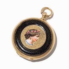 Goldene Email Miniatur Taschenuhr, Schweiz, um 1860 Goldene Email Miniatur TaschenuhrSchweiz, um 186