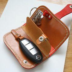 キーケース Leather Key Holder, Leather Key Case, Leather Keychain, Leather Accessories, Leather Jewelry, Leather Craft, Leather Wallet Pattern, Leather Bags Handmade, Small Leather Goods