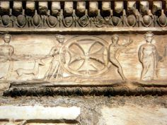 4th century BC Greek frieze with added 13th century cross on the exterior of Panagia Gorgoepikoos Church, Athens