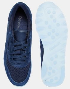 Image 3 ofReebok Navy Nylon & Suede Tech Trainers
