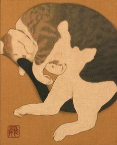 猫 (neko) - chat, style japonais - Illustration - mes chats Art Et Illustration, Illustrations, Botanical Illustration, I Love Cats, Crazy Cats, Asian Cat, Art Occidental, Animal Gato, Japanese Cat