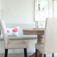 A bit of pink in a neutral breakfast nook. Gold Pillows, Felt Applique, Breakfast Nook, Pink And Gold, Cotton Canvas, Dining Bench, Hot Pink, Pillow Covers, Neutral