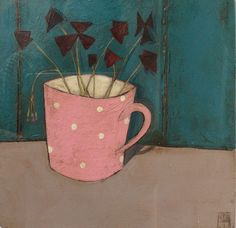 Original art and paintings by Jo Oakley, London and Whitstable artist January Art, Pink Cups, Pictures To Paint, Flower Art, Still Life, Oakley, Original Art, Mixed Media, Painting Abstract