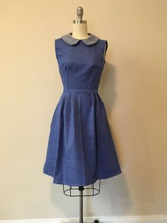 Dress made out of chambray . Has pockets in the side seams. Perfect for any warm day (: FOR CARE INSTRUCTIONS Machine wash cold and hang dry ; or hand wash Size chart WAIST BUST HIPS XS 24-25 32-33 34-35 S 26-27 34-35 36-37 M 28-29 36-37 38-39 L 30-31 38-39 40-41    Dress pictured is a size XS  MOST dresses are available in different sizes. Please let me know if you have any questions regarding custom orders on any dress and or different fabric options (:
